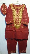African Men's Pant suit Brocade Print Traditional clothing One Size Red Gold
