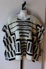 b sharp black/white mohair blend cape poncho one size