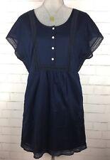 J. Crew Tunic Dress Boho Crochet Inset Lined Drop Shoulder 100% Cotton Navy XS
