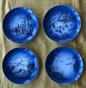 """Set Di 4 Piatti B&G Copenaghen Porcelain Serie """" Sulla Rotta Di Colombo"""""""