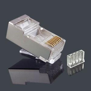 100PCS RJ45 Connector Shielded CAT6 Network Connector 8P8C Modular RJ45 Plug