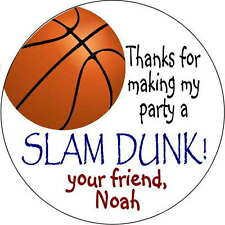 12 stickers Birthday Party 2.5 Inch Personalized basketball labels favors gifts