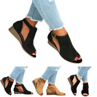 Women Summer Beach Gladiator Ankle Strap Mid Wedge Heel Open Toe Sandals Shoes