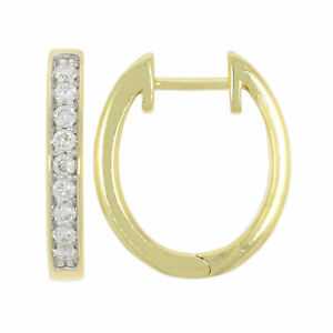 9ct Gold Diamond Huggie Earrings - 0.25ct  - Gift Boxed - Round Brilliant Cut