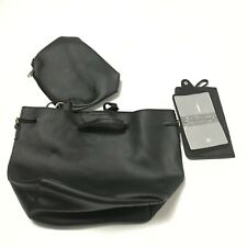 New Women Tote Medium Faux Leather Handbag Black Wallet Purse Pebbled Crossbody