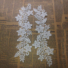 White Embroidered Lace Blossom Flower Patch Iron/Sew on Applique Water Soluble..
