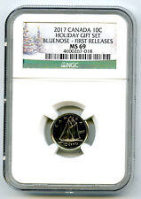 2017 CANADA 10 CENT HOLIDAY SET DIME NGC MS69 FIRST RELEASES RARE TOP POP WOW!!