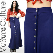RARE Vintage 70s Mod Hippie Skirt Blue Wool High Waist Button Up Mermaid Maxi XS