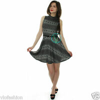 Ladies Womens Skater Dress Belted Polo Neck Aztec Grey Mini Flared Dresses 8 14