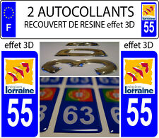 2 stickers plaque immatriculation auto TUNING 3D DOMING RESINE LORRAINE DEP 55