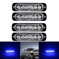 4x 6 LED Car vehicle Strobe Flash Light Emergency Warning Flashing Lamp Blue