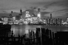 NEW YORK CITY BLACK AND WHITE SKYLINE POSTER 24x36 - NYC RIVER 36434