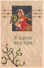 Unsigned u. 1908, Happy New Year, Young Girl Holding Holly, Series #9120