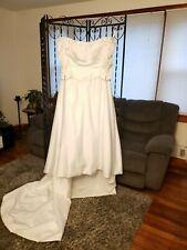 Wedding Gown White Satin Off Shoulder 3/4 sleeves Scoop neck Aline Skirt Size 20