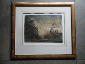 Venice in the Rain. Signed Etching by Ron Olley. Listed