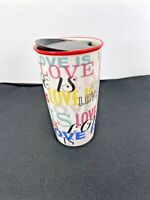 """Valentines Starbucks """"LOVE IS"""" Double Wall Ceramic Travel Cup Tumbler 12 oz"""