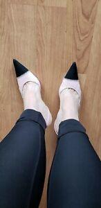 Pink w/ Black Toe PRADA Fabric Kitten Heel Sling Back Pumps US-7.5 (Prada 37.5)