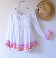 New~$88~White Pink Orange Peasant Blouse Smocked Shirt Boho Top~Size Small S