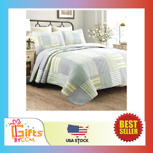 Line Home Fashions Sienna Green Yellow Blue Plaid Striped Patchwork 100% NEW