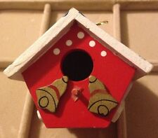 Vintage Wooden Holiday Bells Bird House Christmas Tree Ornament
