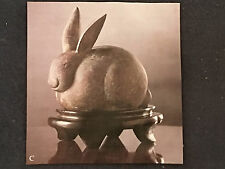 Brass Rabbit Bunny Hare Statue Figurine with wooden stand