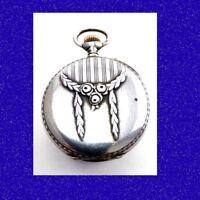 WW1 Mint Silver  Repousse 15J  Longines Tunis Pocket Watch 1918