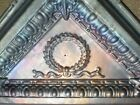 Antique Iridescent Victorian Ceiling Tin Tile Acanthus Wreath Egg Dart Triangle