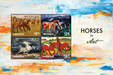 Grenada - Horses on Stamps - Sheet of four stamps - 2015 MNH