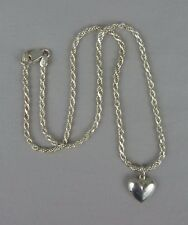 "925 Sterling Silver French Rope Puffy Heart Choker Necklace / 15"" / 2 mm / 8 g"