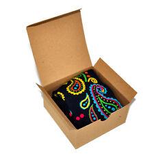 Mens Socks Gift Box Paisley Pattern Navy Blue Bandana Casual - Stocking Stuffer