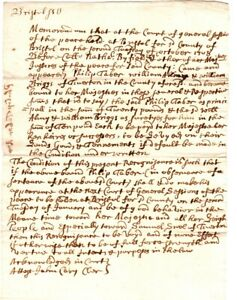 1708, Tiverton, R.I., John Cary signed recognizance bond, Philip Tabor to court