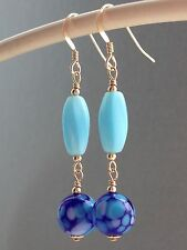 Vintage Bristol Blue Murano Glass & Barley Twist Satin Glass 14ct RG Earrings