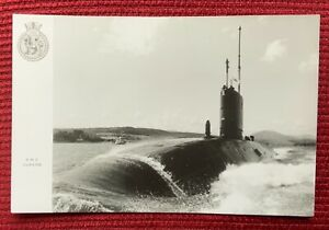 HMS SUPERB - Swiftsure Class Submarine - Photo Card with Navy Crest Insignia