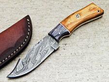 """DAMASCUS STEEL 8.0"""" HANDMADE FULL TANG SKINNING KNIFE - HARD WOOD - WD-6858"""