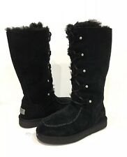 UGG APPALACHIN LACE-UP TALL BOOTS BLACK SUEDE -US SIZE 7 (FITS US 6.5) -NEW