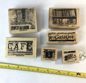 Lot of 6 vintage to modern unused new mounted rubber stamps/ café, architecture