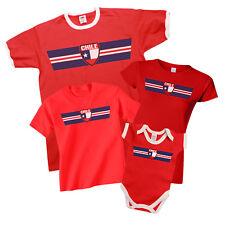 CHILE Patriotic Retro Strip T-Shirt *Choice Of MENS LADIES KIDS BABY GROW*