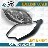 Pair Head Light Cover Fit Mitsubishi Triton MQ 2015 2016 2017 2018 MATT Black
