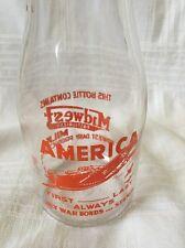 Vintage Pint Milk Bottle Midwest Dairy Products War Bond Fighter Plane WW2