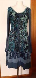 Heine blue boho style long-sleeved patchwork dress size EU 36 (aus 8)