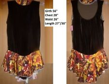 ab087df92eef6 EUC Ice Figure Skating Dress Brown bodice Orange floral skirt Size AM  c