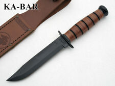 KA1250 Couteau Kabar USMC Short 1095 Carbon Blade Leather Handle Sheath Made USA