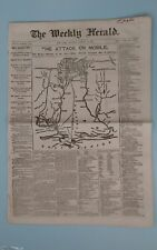Civil War 8/13/1864 The Weekly Herald Map   THE ATTACK ON MOBILE  Map