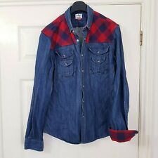 Soviet Russian Built Mens Blue Denim Jacket Top Check Flannel Pearl Snap Size L