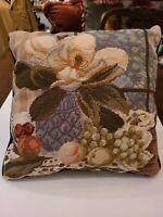 """FABULOUS~Magnolia Needlepoint Pillow~14"""" Square~Navy Velvet Back~Zipper Opening"""
