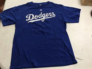 MAJESTIC MLB L.A. Dodgers #16 Andre Ethier Royal Blue Premium Tshirt Men's Sz L