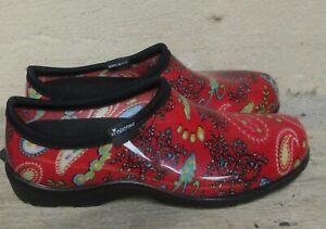 Sloggers Red Paisley Rain/Garden Slip-ons  EUC  Size 10