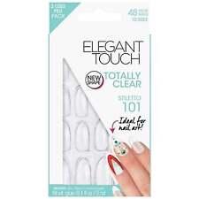 Elegant Touch clavos falsos-totalmente transparente Stiletto 101 (paquete de 48, 10 Tamaños)