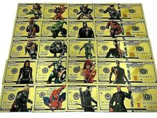 More details for stunning set of thirty three  different avengers / hero gold plated  banknote's