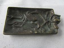 ancien petit vide poche en bronze decor oiseaux vigne raisin epoque 1900